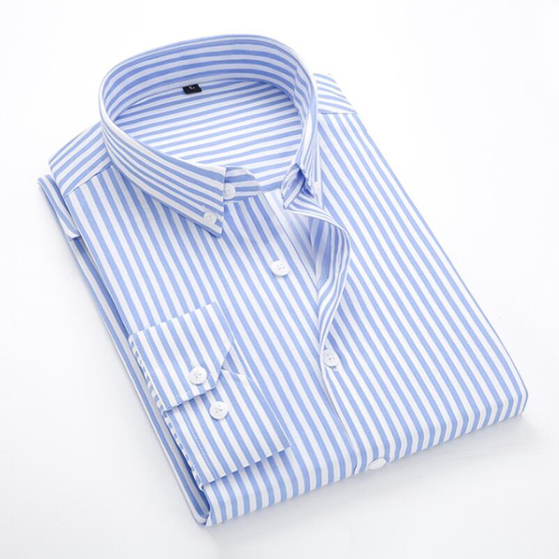 Brand Men Long Sleeve Shirts Male Striped Classic-fit Comfort Soft Casual Button-Down Shirt Casual Male Shirt Tops Plus size 5XL