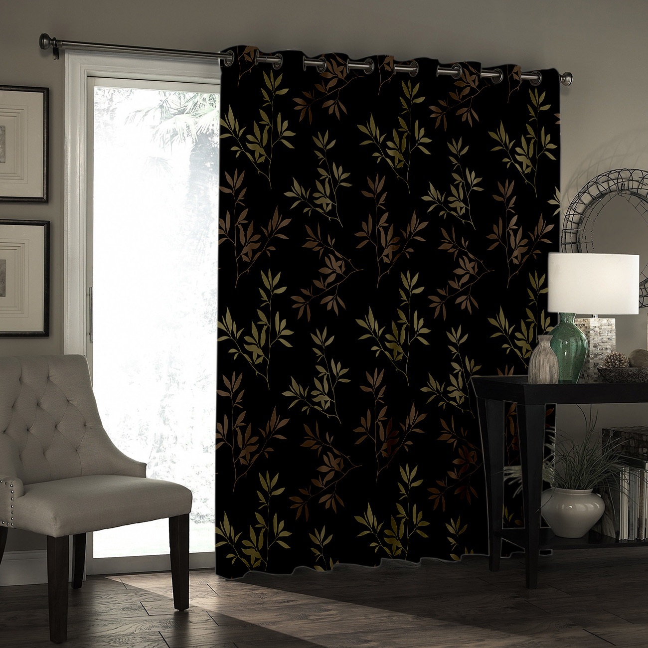 Autumn Style Of Plants Living Room Blackout Drapes Indoor Fabric Decor Curtain Panels With Grommets Window Treatment Sets Window