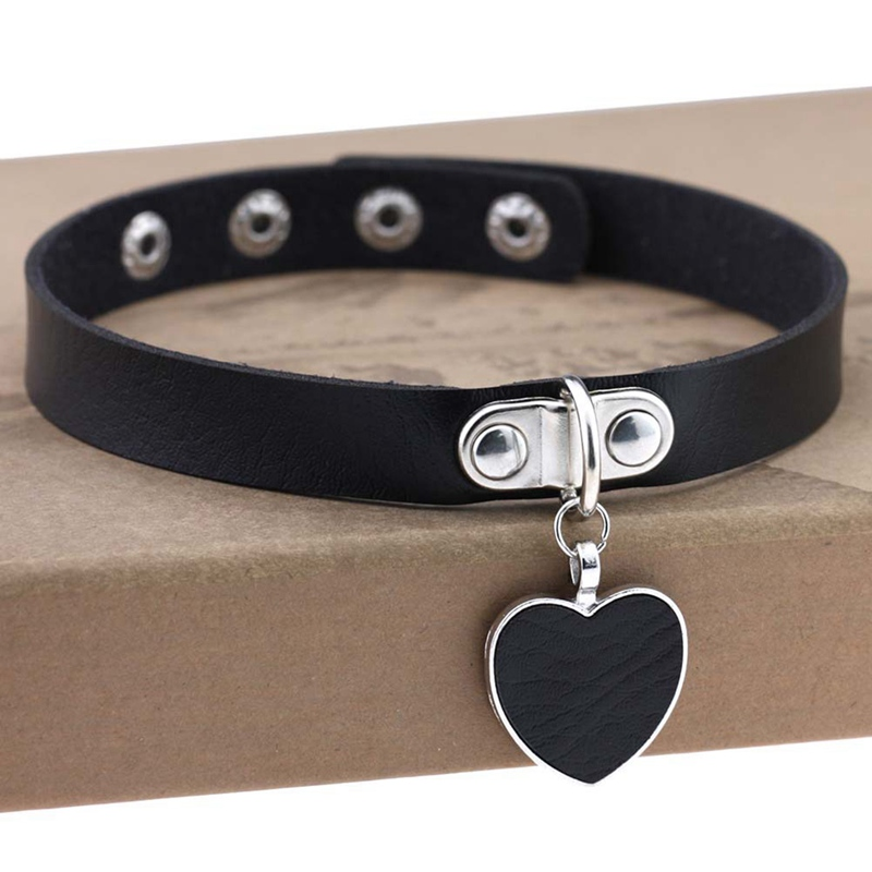 Punk Necklace Gothic Heart with Lock Pendant PU Leather Choker Collar Chocker Necklace for Women Gift