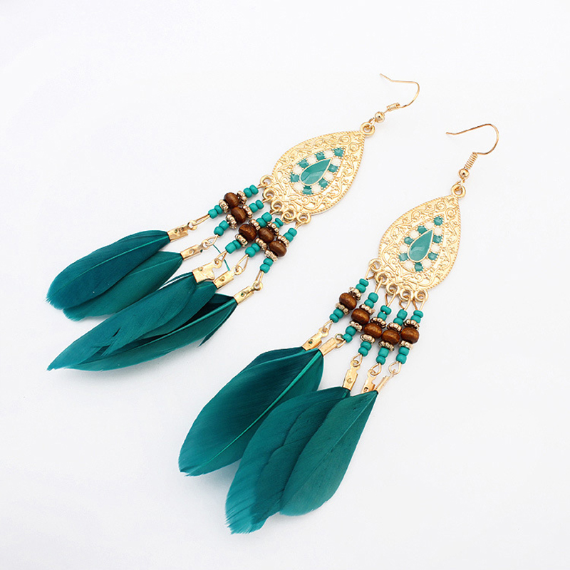 Boucles d'Oreilles Attrape Rêves Femme Turquoise bijoux femme tenue unique style chic et bohème turquoise belle or massif style indien amérindienne capteurs de rêves