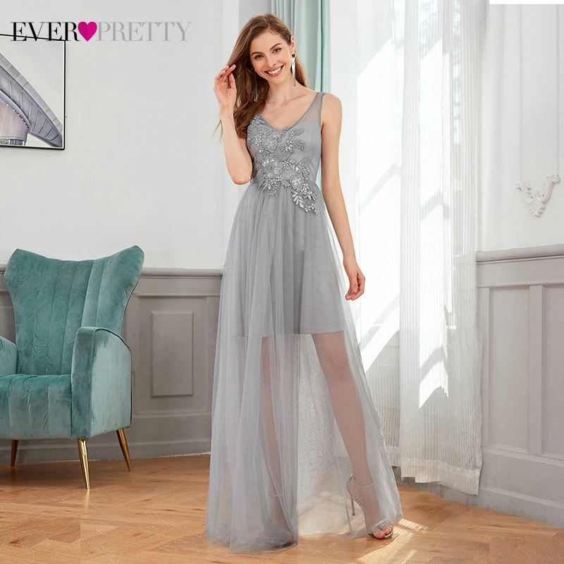 Gray Bridesmaid Dresses Ever Pretty EP00436GY A-Line Sequined Appliques Sleeveless Tulle Elegant Wedding Party Gowns Vestidos