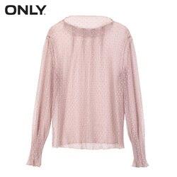 Блуза прозрачная в горошек с рукавами-фонариками