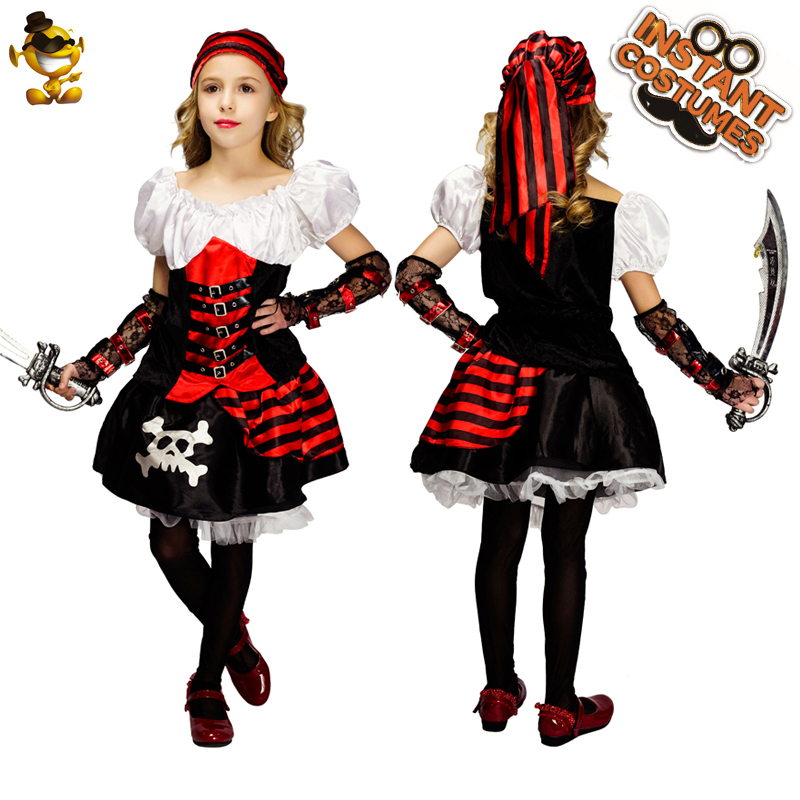 Pirate Girls Carribbean Halloween Kids Fancy Dress Party Costume One Size Yr 3-7