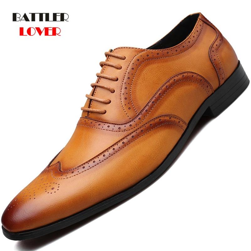 2019 Men Brogue Dress Shoes Designer Business Office Lace-Up Loafers Casual Driving Shoes Men