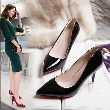 leather single sexy thin heel Autumn 2020 light patent pointed high-heeled all-match professional shoes female
