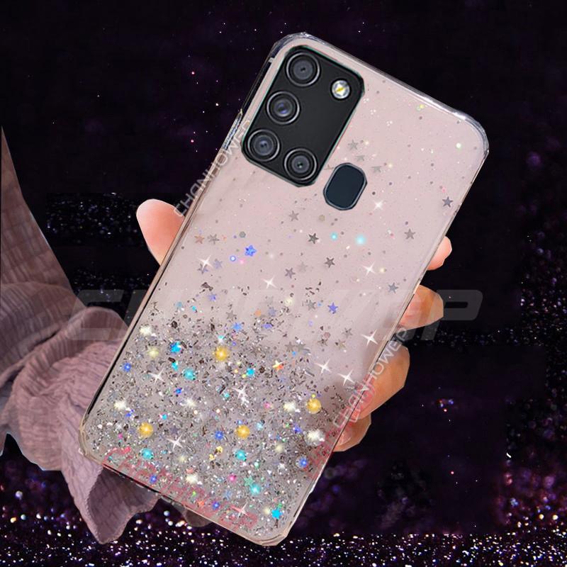 Glitter Soft TPU Case For Samsung Galaxy A21S Transpartent