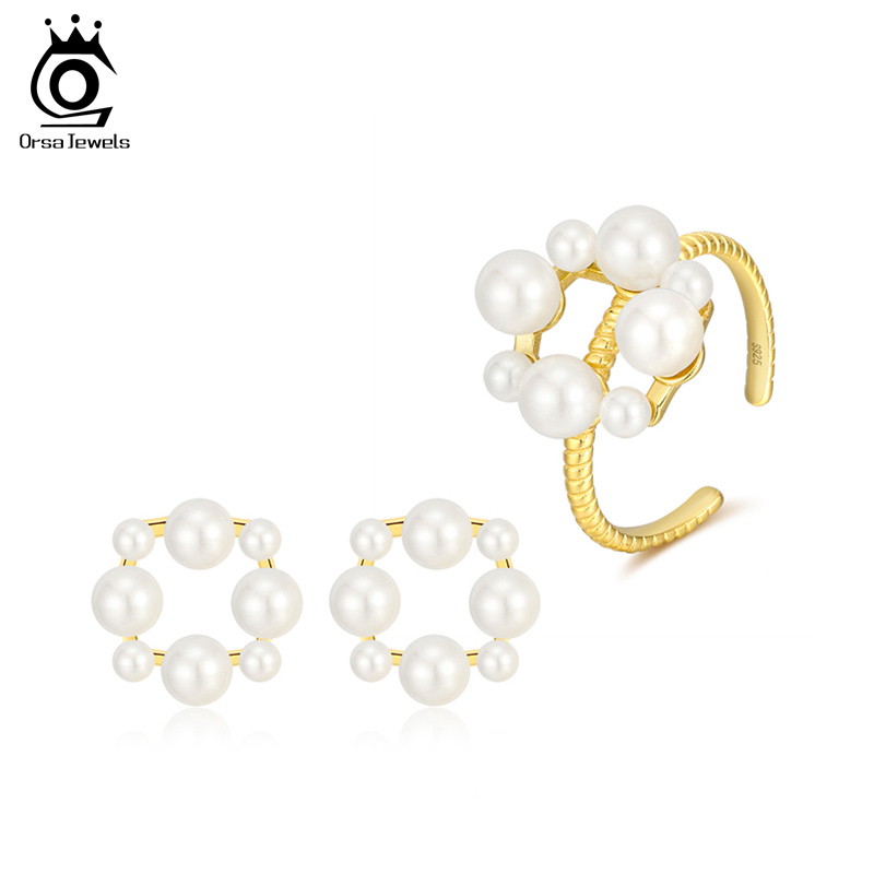 ORSA JEWELS Solid 925 Sterling Silver Ring Earrings Sets For Women Romantic Simulated Pearl Exquisite Wedding Jewelry Sets SS63 title=