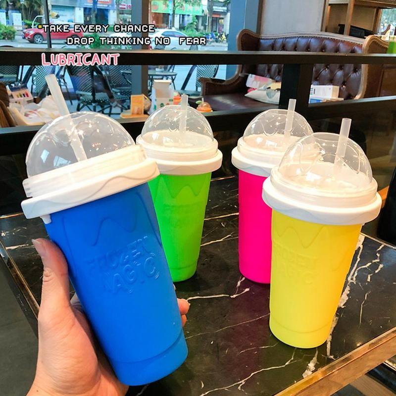Quick Frozen Smoothies Cup Ice Cream Maker Milk Shake Maker Cooling Cup Magic Slushy Maker Squeeze Cup DIY Homemade Freeze Drinks Cup Double Layer Juice Cup For Children Fast Cooling 4 Colors