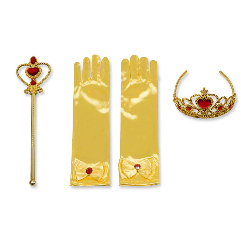 Princess Girls Accessories Set Kids Party Cosplay Queen Magic Wand Tiara Gloves Wig Hair 4pcs