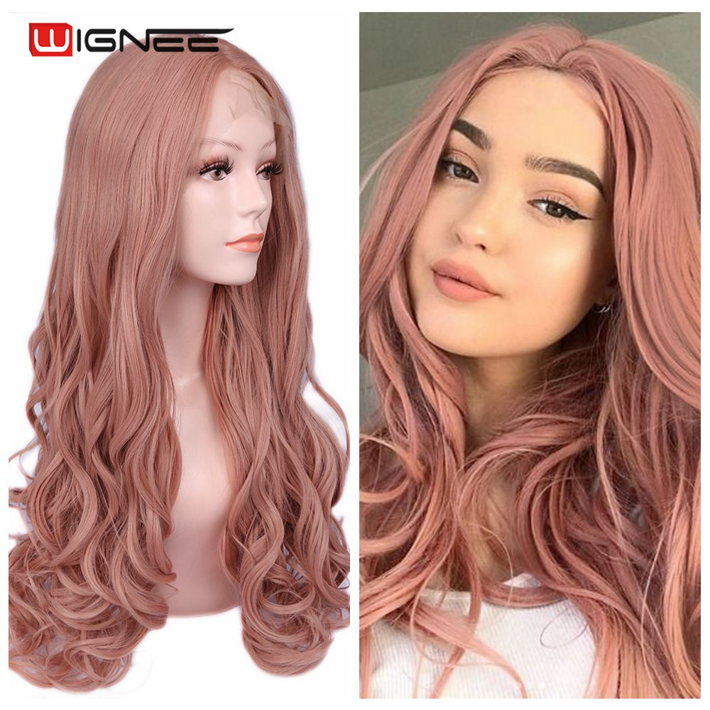 Wignee Lace Front Synthetic Natural Wavy Middle Part Heat Resistant Women/'s Long Hair Wig Pink/Blonde/Brown Natural Hair Wigs
