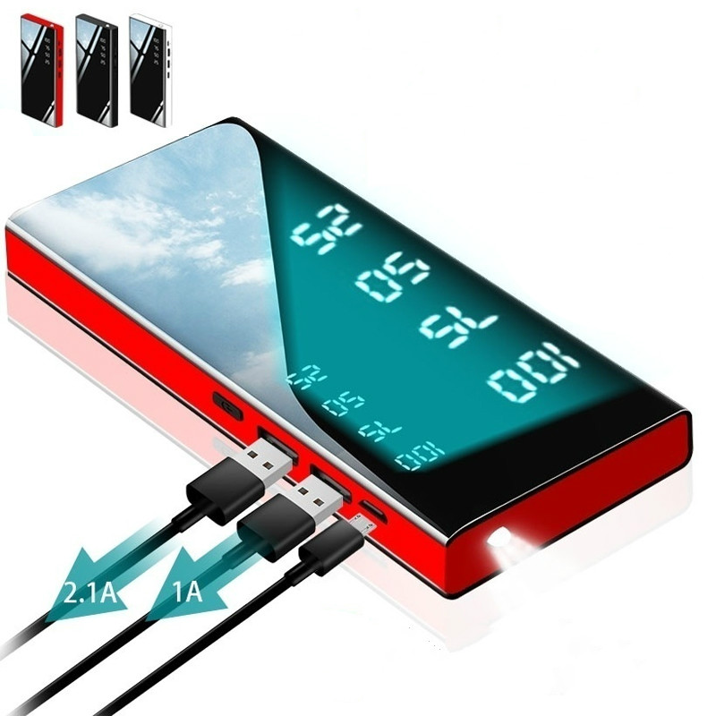 Power Bank 30000mAh Portable Mirror Charger Ultra High Capacity Power Bank 2.1A Output for smart phone title=