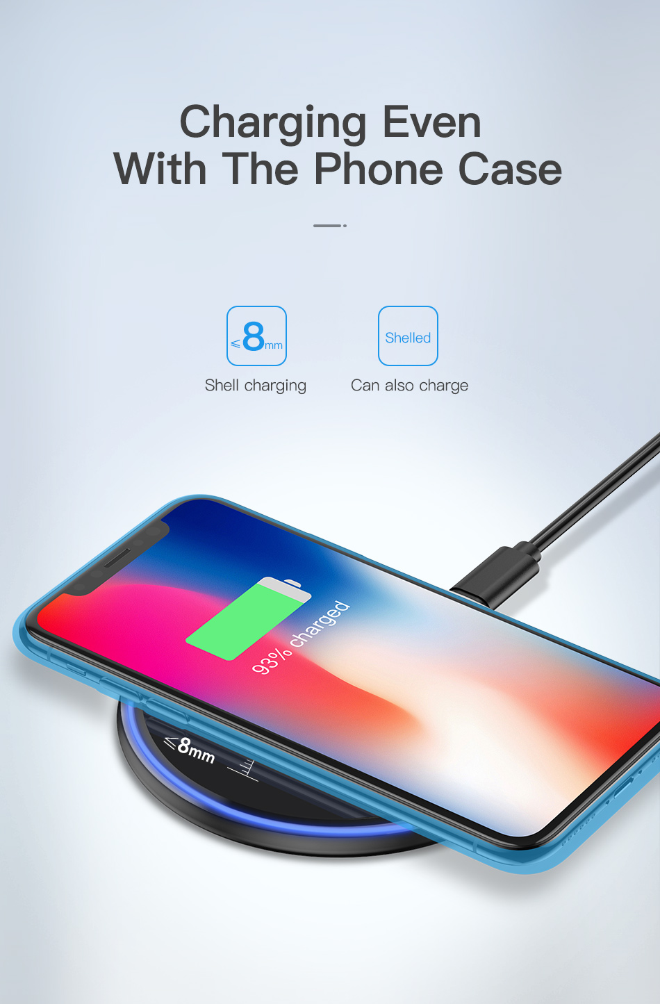 KUULAA Wireless Charger 10W Qi for Samsung S9 S10+ Note 9 8 Mirror Wireless Charging Pad 7.5W for iPhone X/XS Max XR 8 Plu 4