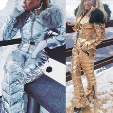 Skiing Jumpsuit Snowboarding-Suit Snow-Costumes Shiny Waterproof One-Piece Women Gold