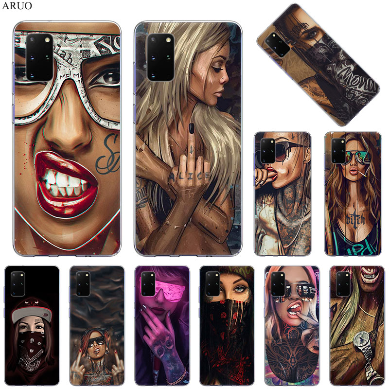 Soft Silicone Phone Case For Samsung S20 Ultra S10 Lite S9 S8 Plus Sexy Sleeve Tattoo Girl for Samsung Note 20 10 Pro 9 8 Cover