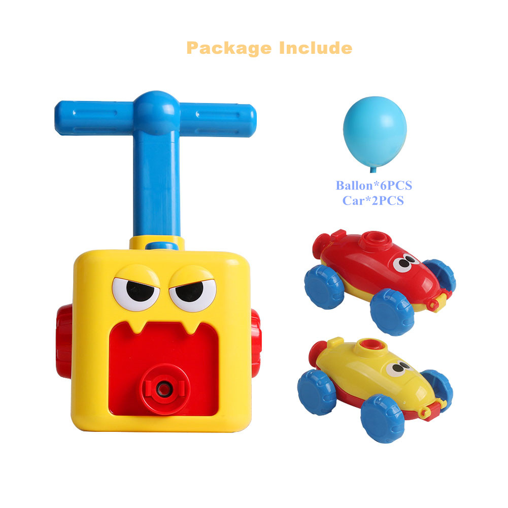 ESSSHOP Balloon Powered Car Toy for Kids Inflatable Balloon Pump Cars Racer Kit for Boys Girls Yellow Preschool Educational Science Toys with Manual Balloon Pump for Kids Boys Girls 3+