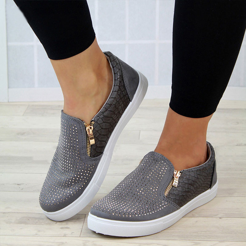Sneakers Women Flat-Shoes Rhinestone Snake-Pattern Breathable Big-Size Zipper Antiskid title=