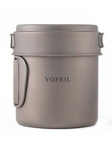 Yofeil Camping Cookware Tableware Frying-Pan Ultralight Hiking Picnic Titanium Outdoor