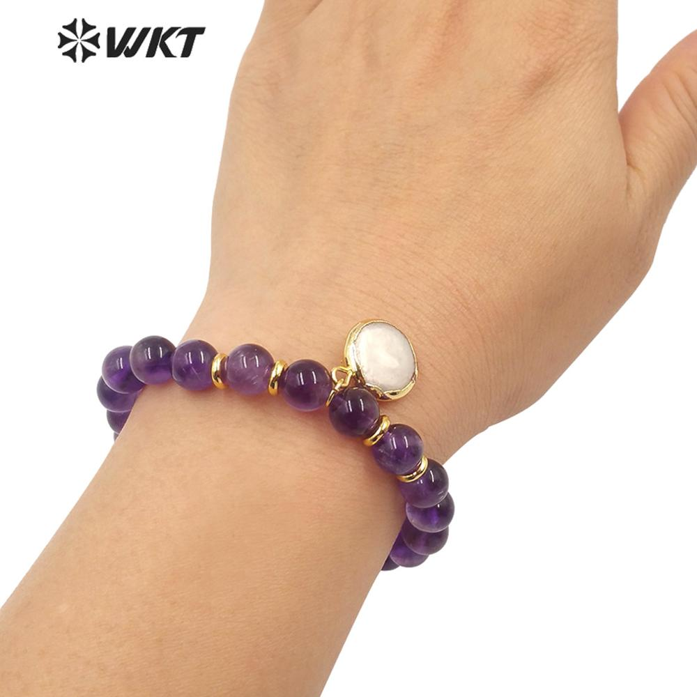 WT-B538 Wholesale round 8mm beads flexiale beads bracelet girl natural pink stone beads bracelet with hang charm