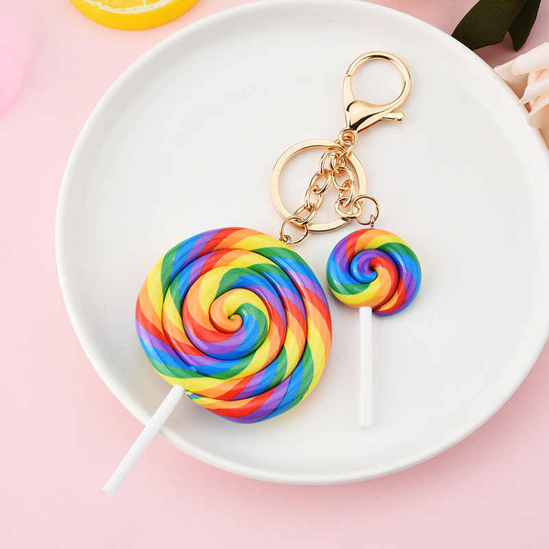 2020 Simulation Rainbow Lollipop Keychain Girl Cute Candy Color Round Car Keyring Key Holder Resin Key Chains Kids Gift llaveros