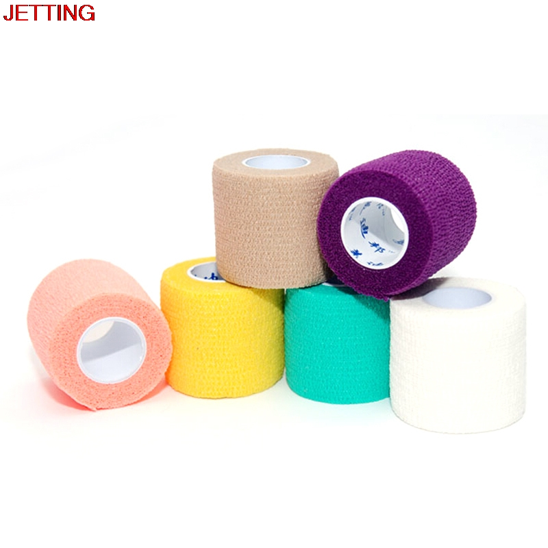 Colorful Self Adhesive Ankle Finger Muscles Care Elastic Medical Bandage Gauze Dressing Tape Sport Wrist Support 5cm
