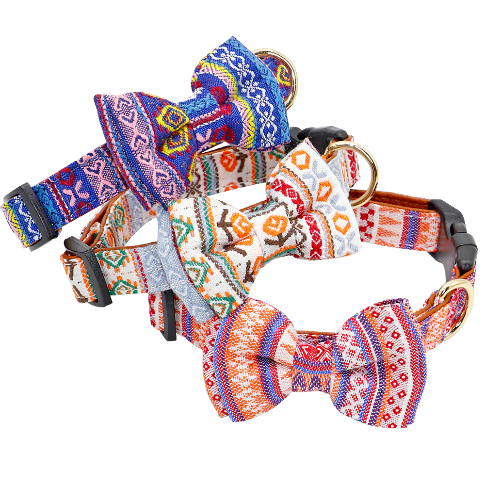 Printed Bow-knot Cute Chihuahua Collar With Bow Tie | DogsMall-International