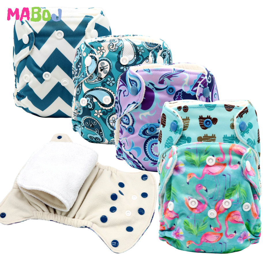 MABOJ Newborn AIO Cloth Diaper All in One Nappies Reusable Baby Infant Newborn Nappy Stay Dry Fast for 0-3 Months Baby Wholesale