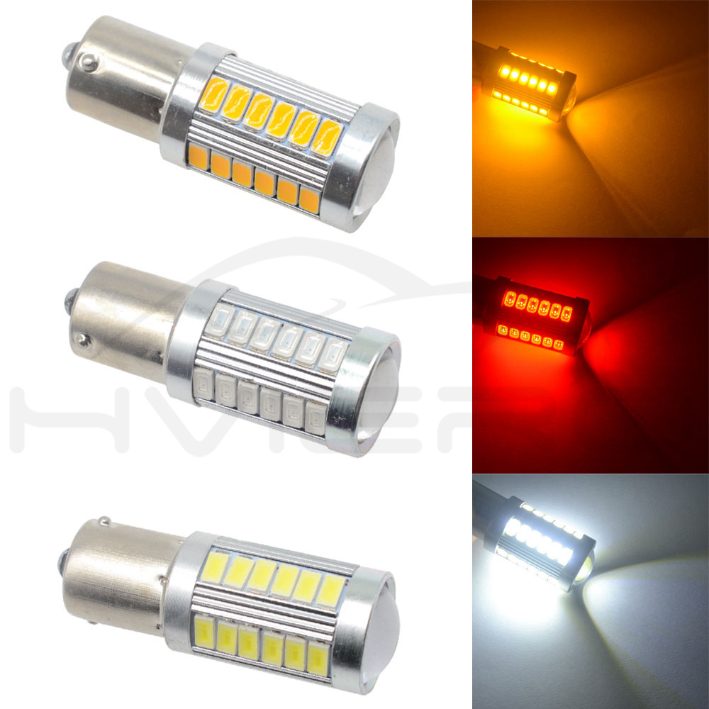 Hviero White Red 1156 BA15S 1157 BAY15D P21 5W 33SMD 5730 LED Car Brake Lights Tail Lamp Turn Signal Auto Led Rear Reverse Bulbs DRL