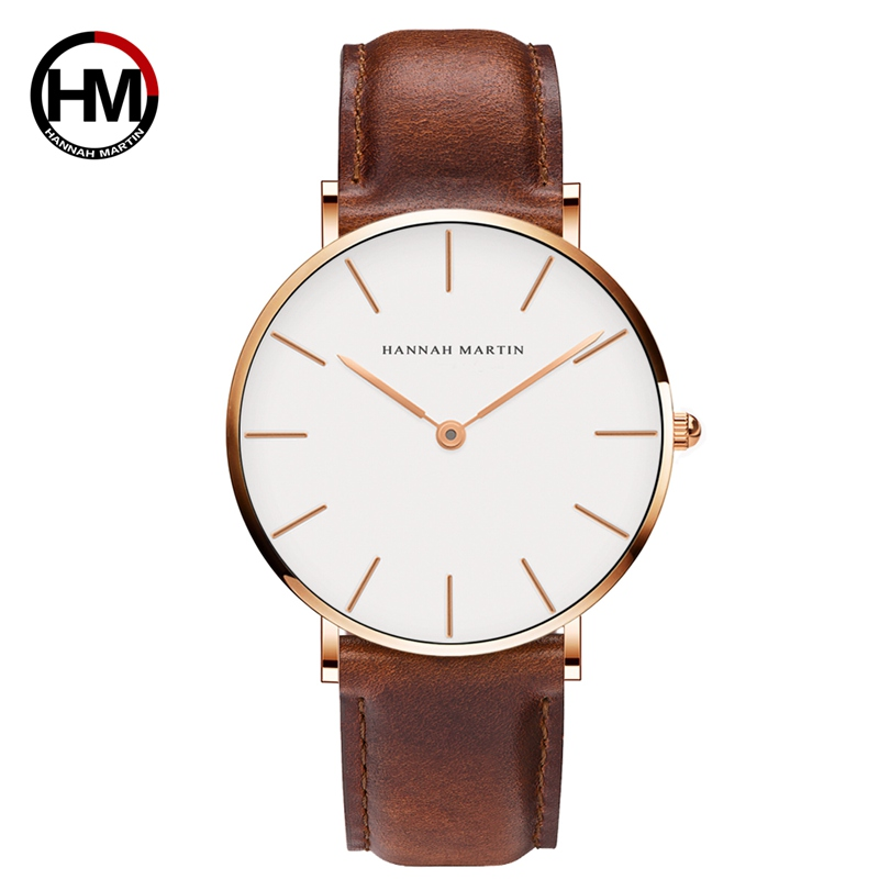 Dropshipping High Quality Rose Gold Dial Watch Men Leather Waterproof Wristwatch Women Dress Fashion Japan Quartz Movement Saat