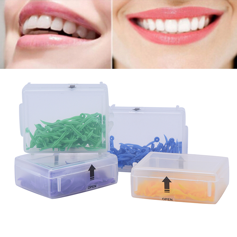 100Pcs/Box Disposable Dental Wedge with Hole Diastema Tooth Wedge Medical Plastic Arc Concave Design Dentist Tool