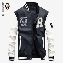 Baseball Jacket Varsity Pu-Coat Biker College-Top Faux-Pilot Bomber Motorcycle Fleece