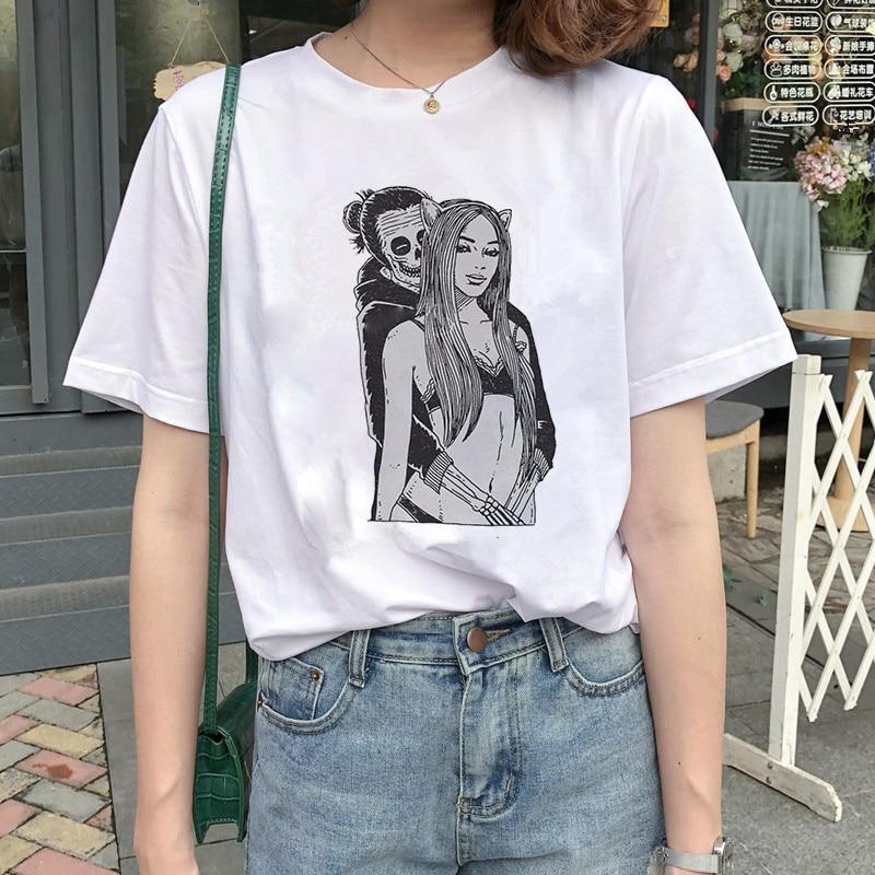 2019 Halloween Thanksgiving T Shirt Women Skull Punk Rock Graphic Tee Shirt Femme Cool Woman Tshirt Top Harajuku Camisetas Mujer