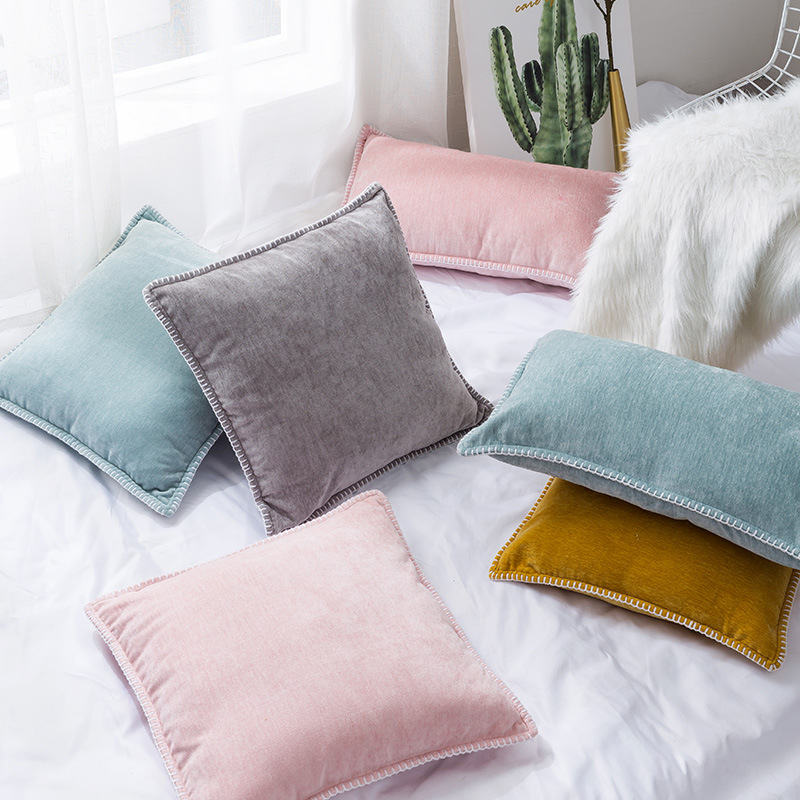 "2pcs 45x45cm 18/"" x 18/"" Super Soft Chenille Stripe Cord Cushion Covers Protector"