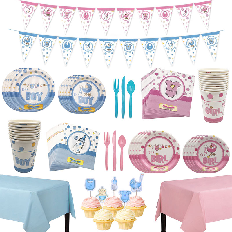 Boy or Girl Gender Reveal Disposable Tableware Cup Plate Napkin Tablecloth Garland Baby Shower Birthday Party Decoration Supplie