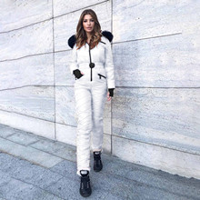 Jumpsuits Tracksuit Winter Women Hooded Zipper One-Piece Elegant Sports Straight Casual