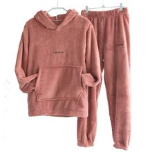 Pants Suit Sweater Two-Piece-Suit Velvet Warm Fleece Sports Autumn Winter Casual Women