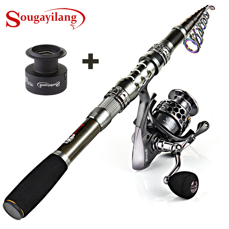 Sougayilang 1.8-3.3m Carbon Fiber Spinning Fishing Rod 13+1BB Fishing Reel Combo Telescopic Fishing Pole Spinning Reel Kit Pesca title=