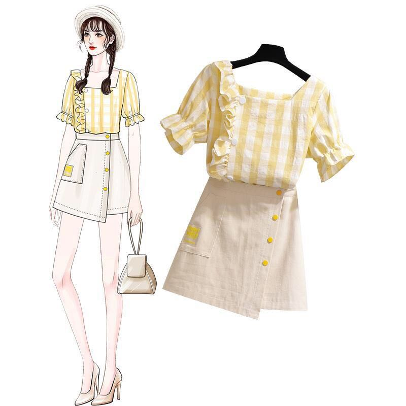 TiLeewon Sweet Ladies Dress Set U-neck Plaid Top With A-Line Dress Summer Two Piece Set Korean Style Young Girls Sets