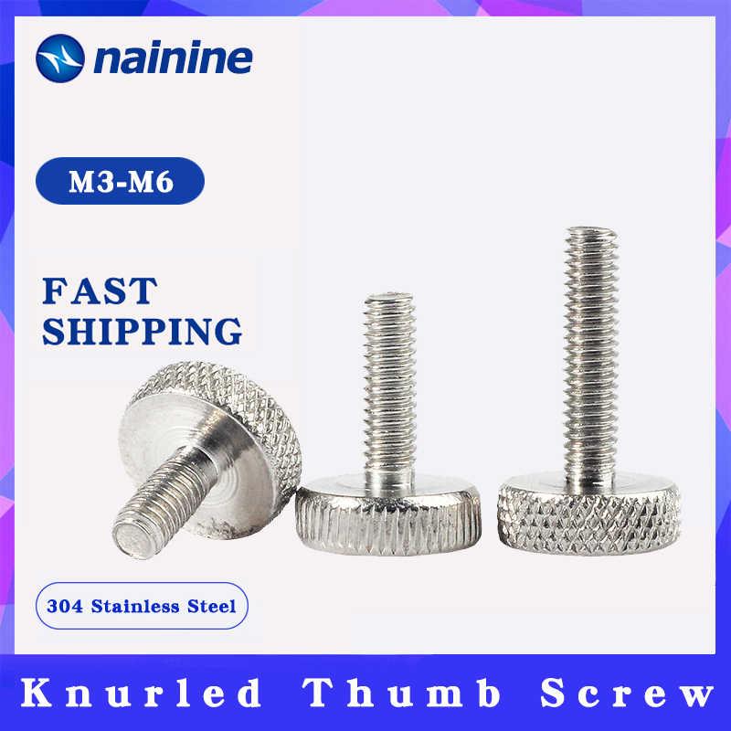 M6 M5 M4 304 SS Hand-twisted Screws High-head Knurled Step Adjust Thumb Bolt