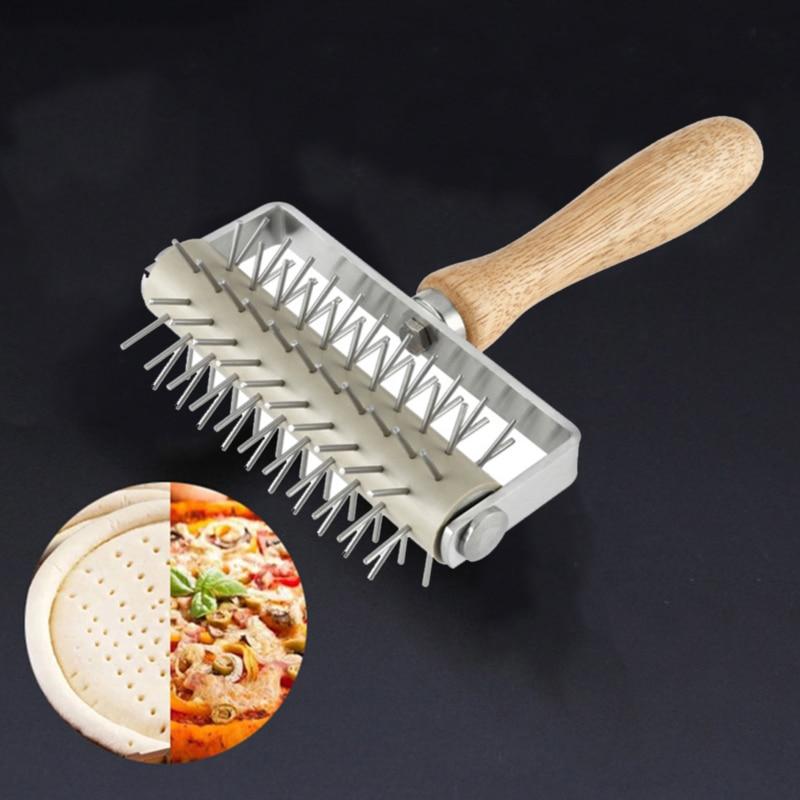 Senmubery Steel Wheel Pizza Bread Needle Punchers Roller Pie Pastry Dough Pitter Durable Wooden Handle