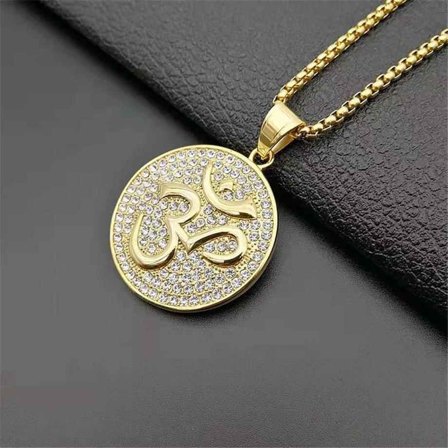 "India Yoga Inspired Om Ohm Aum Symbols Pendant 24/"" Various Chain Necklace"