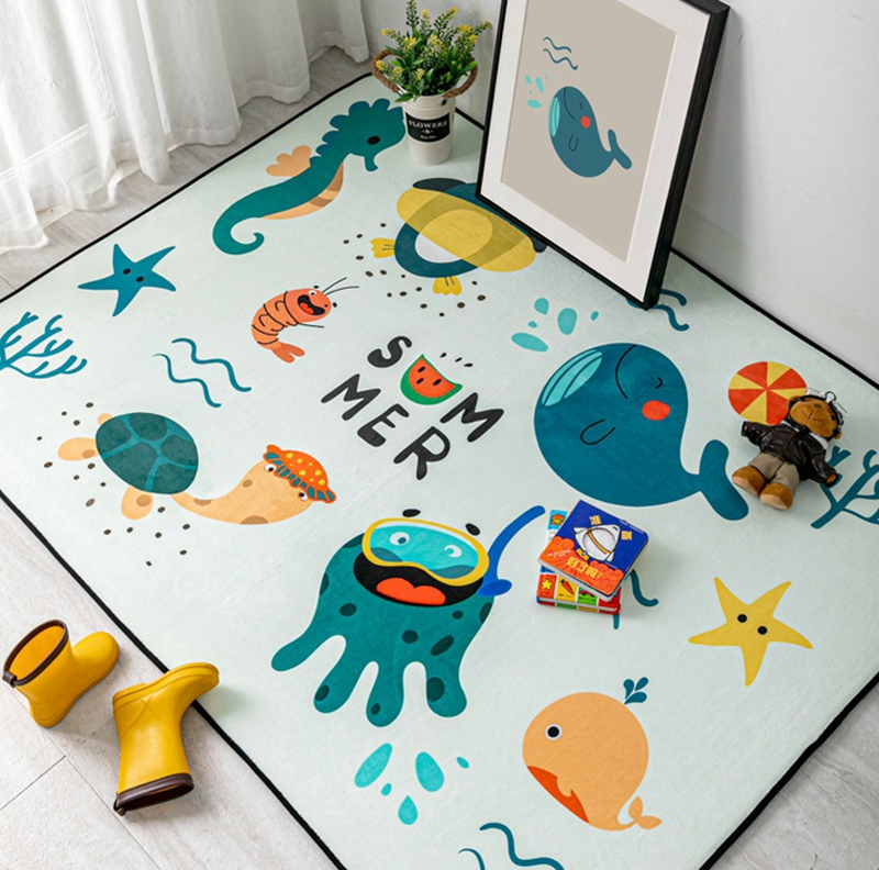 Cartoon Cute Red Fox Flowers Non-slip Soft Mat Room Decor Floor Rugs Bathroom