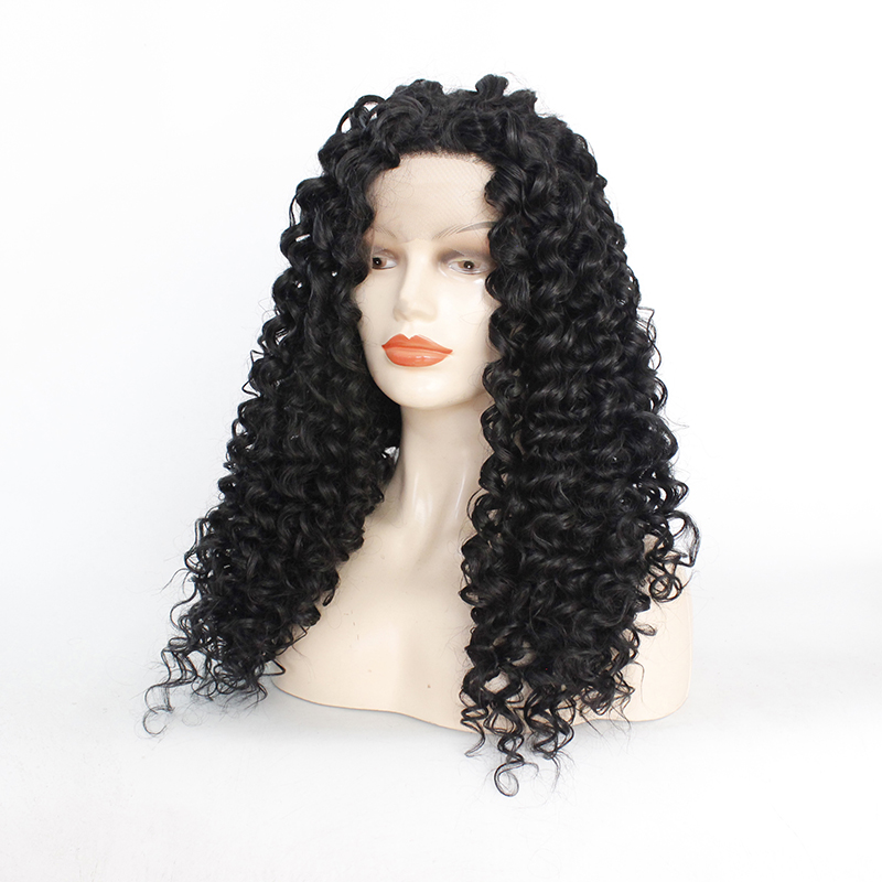 1B# Long Loose Curly Water Wavy Synthetic Hair For Black Women 150% Density Wigs Lace Front Wigs for Black Women Natural Color