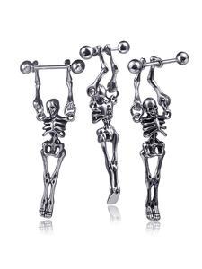 Stud-Earrings Skull Gothic Jewelry Stainless-Steel Human Body-Novelty Head-Ear Fashion