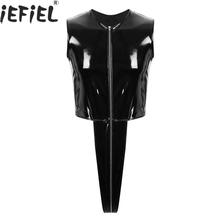 Bodysuit Zipper Thong Leotard Latex Rubber Swimwear Pole-Dance-Costume Lingerie Gay Open-Crotch