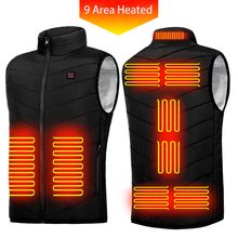 New 9 Areas Heated Vest Men Women USB Electric Heating Jacket Thermal Waistcoat Winter Hunting Outdoor Cloth