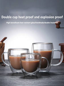 Coffee-Cup Whiskey Beer Transparent Glass Milk Heat-Resistant Double-Creative And Tea