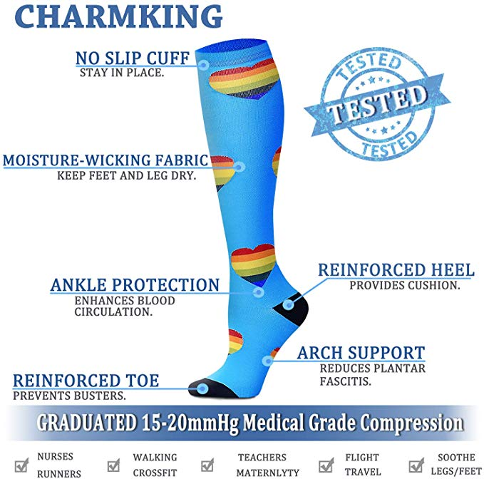 30 Styles Compression Socks For Men & Women (20-30 Mmhg) Best Stockings Running Fit Breathable Long Socks For Male Travel Sock