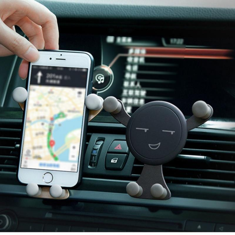 Car-Phone-Holder Air-Vent-Mount-Cell for in Smile-Face Stand GPS Gravity title=