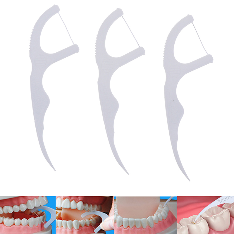 30Pcs/Pack Oral Hygiene Dental Floss Flosser Sticks White Color Tooth Picks Teeth Plaque Remover Adult Interdental Brushes
