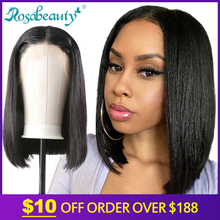Rosabeauty Wig Human-Hair-Wigs Lace-Frontal Short Bob Remy Natural-Color Straight Black-Women